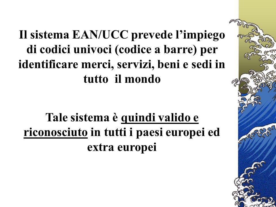 Il sistema EAN/UCC prevede limpiego di codici univoci (codice a barre) per identificare merci, servizi, beni e sedi in tutto il mondo Tale sistema è quindi valido e riconosciuto in tutti i paesi europei ed extra europei