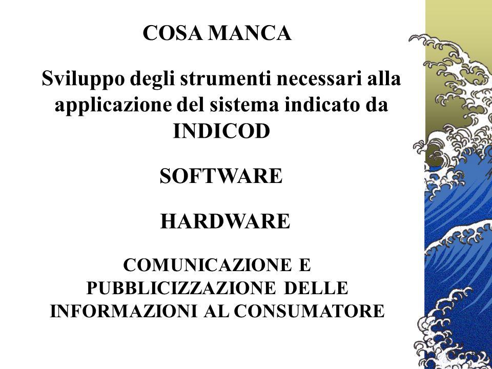 COSA MANCA SOFTWARE Sviluppo degli strumenti necessari alla applicazione del sistema indicato da INDICOD HARDWARE COMUNICAZIONE E PUBBLICIZZAZIONE DELLE INFORMAZIONI AL CONSUMATORE
