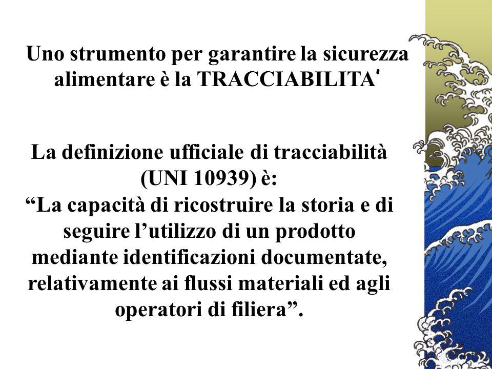 La definizione ufficiale di tracciabilità (UNI 10939) è: La capacità di ricostruire la storia e di seguire lutilizzo di un prodotto mediante identificazioni documentate, relativamente ai flussi materiali ed agli operatori di filiera.