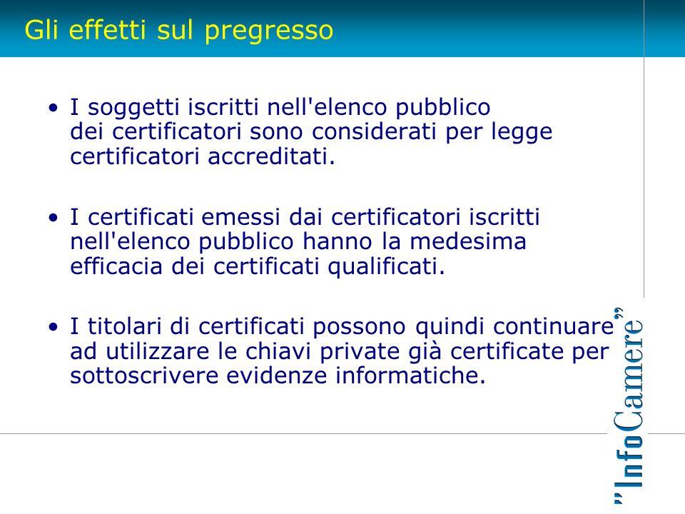 Gli effetti sul pregresso I soggetti iscritti nell'elenco pubblico dei certificatori sono considerati per legge certificatori accreditati. I certifica