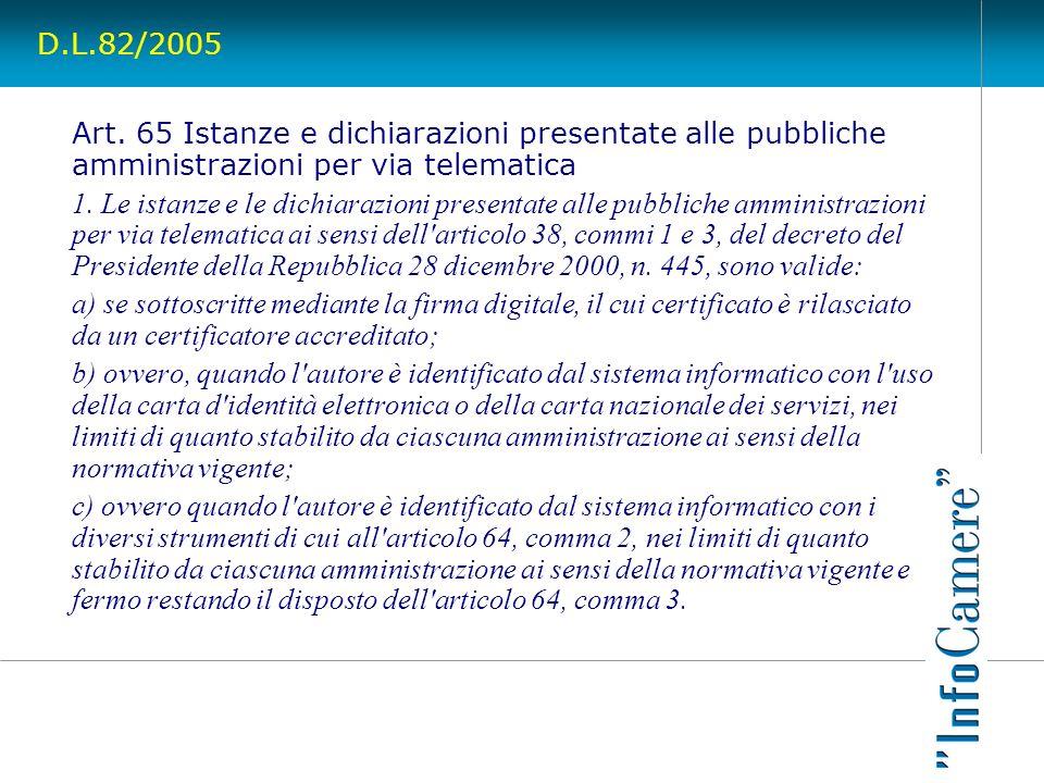 D.L.82/2005 Art. 65 Istanze e dichiarazioni presentate alle pubbliche amministrazioni per via telematica 1. Le istanze e le dichiarazioni presentate a