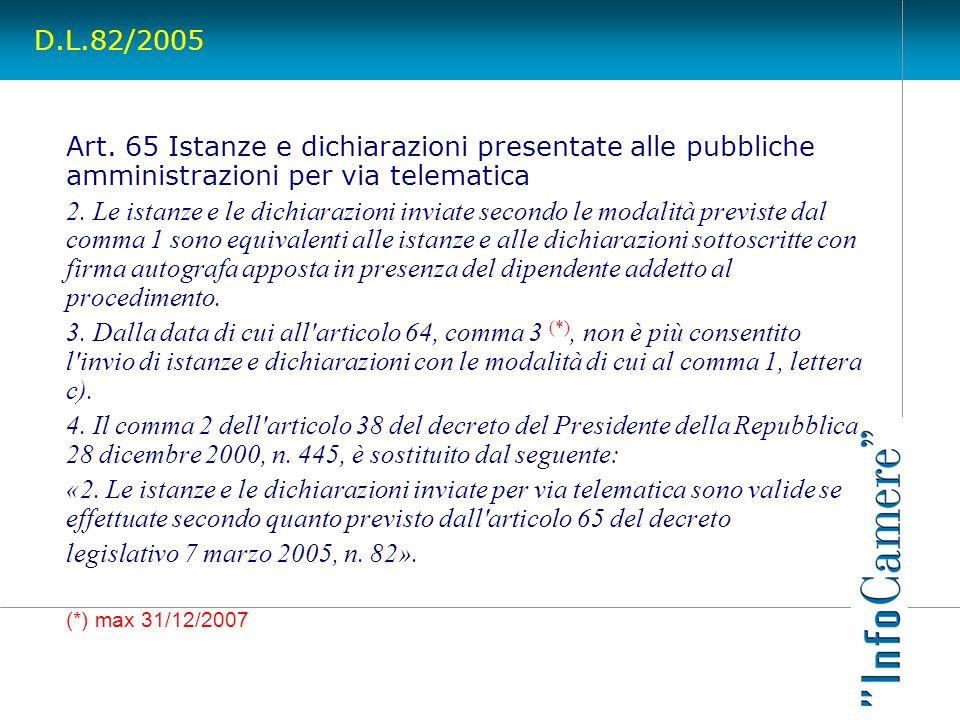 D.L.82/2005 Art. 65 Istanze e dichiarazioni presentate alle pubbliche amministrazioni per via telematica 2. Le istanze e le dichiarazioni inviate seco