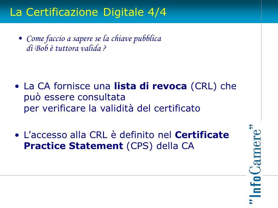La Certificazione Digitale 4/4 Come faccio a sapere se la chiave pubblica di Bob è tuttora valida ? La CA fornisce una lista di revoca (CRL) che può e