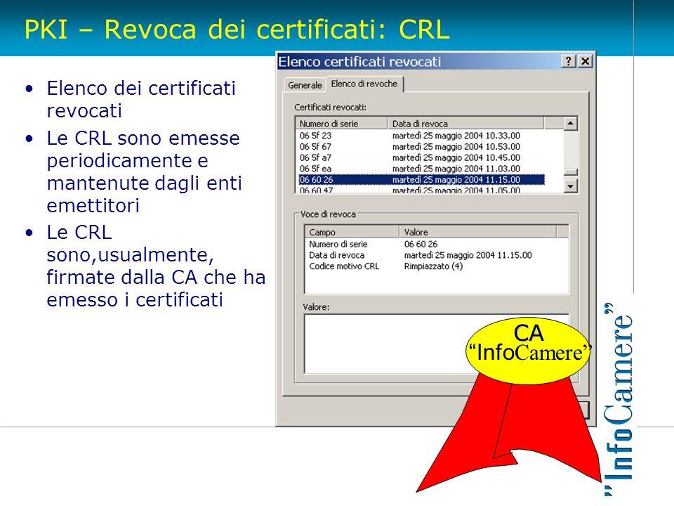 PKI – Revoca dei certificati: CRL Elenco dei certificati revocati Le CRL sono emesse periodicamente e mantenute dagli enti emettitori Le CRL sono,usua