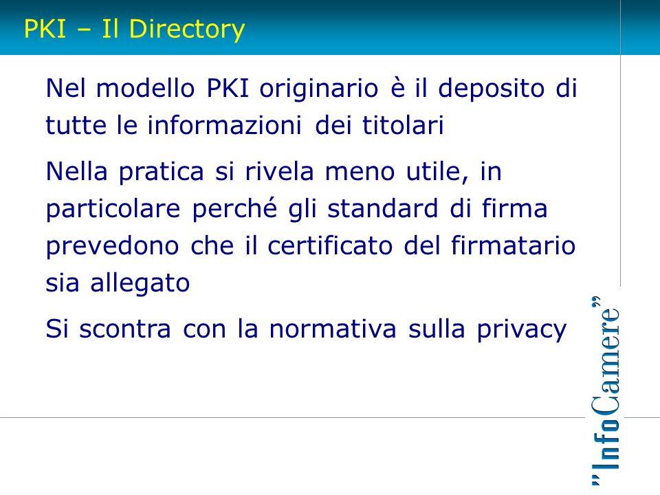 PKI – Il Directory Nel modello PKI originario è il deposito di tutte le informazioni dei titolari Nella pratica si rivela meno utile, in particolare p