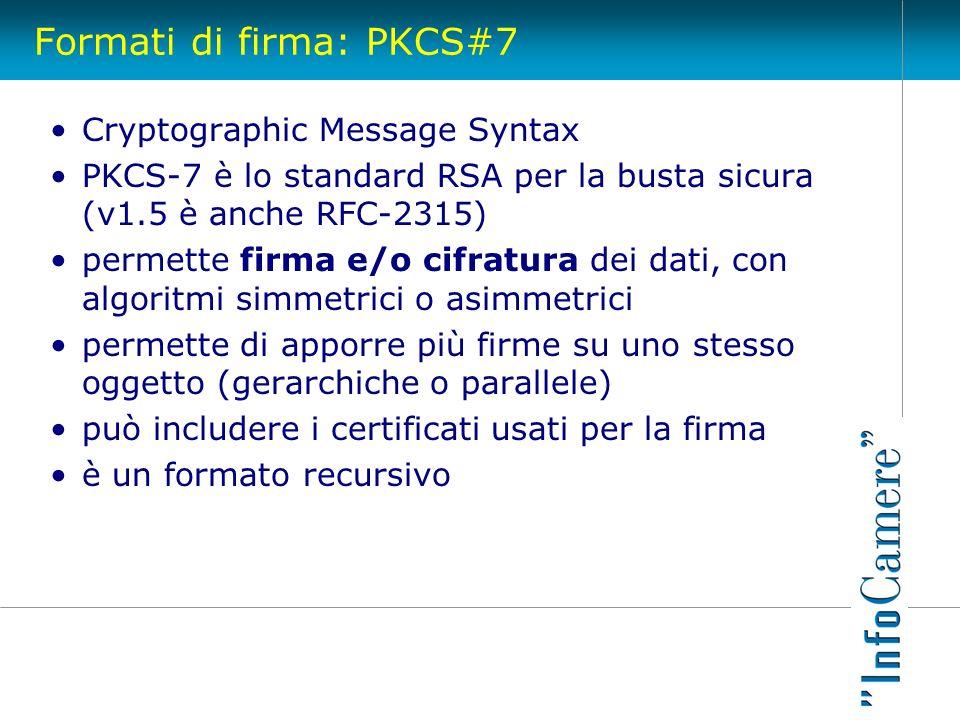 Formati di firma: PKCS#7 Cryptographic Message Syntax PKCS-7 è lo standard RSA per la busta sicura (v1.5 è anche RFC-2315) permette firma e/o cifratur
