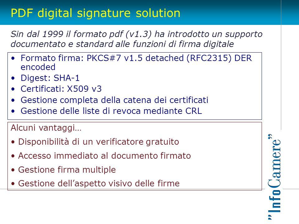 PDF digital signature solution Formato firma: PKCS#7 v1.5 detached (RFC2315) DER encoded Digest: SHA-1 Certificati: X509 v3 Gestione completa della ca
