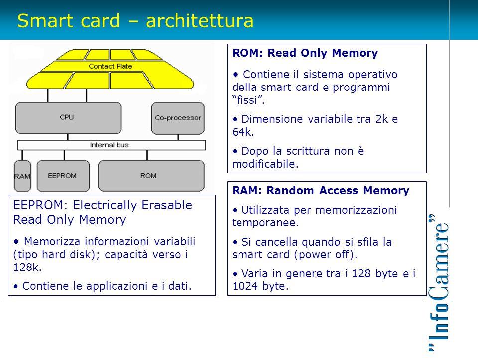 Smart card – architettura ROM: Read Only Memory Contiene il sistema operativo della smart card e programmi fissi. Dimensione variabile tra 2k e 64k. D