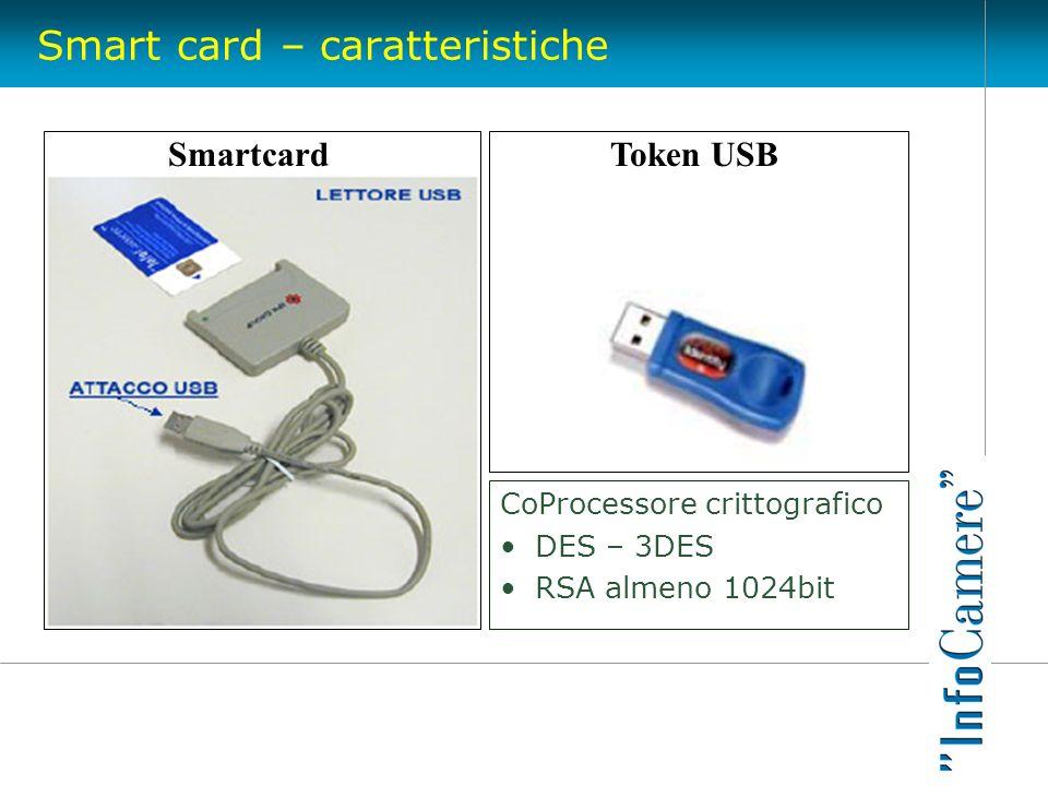 Smart card – caratteristiche CoProcessore crittografico DES – 3DES RSA almeno 1024bit Token USBSmartcard