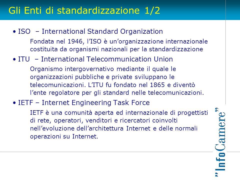 Gli Enti di standardizzazione 1/2 ISO – International Standard Organization Fondata nel 1946, lISO è unorganizzazione internazionale costituita da org