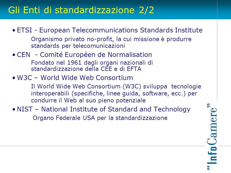 Gli Enti di standardizzazione 2/2 ETSI - European Telecommunications Standards Institute Organismo privato no-profit, la cui missione è produrre stand