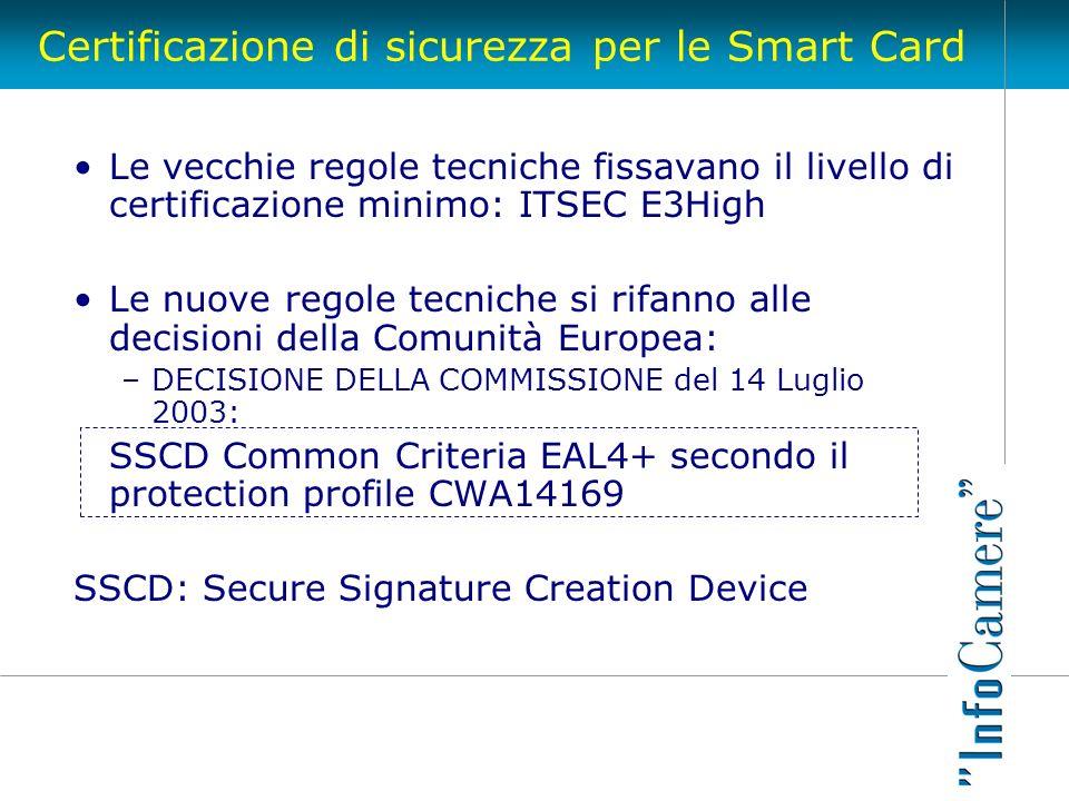 Certificazione di sicurezza per le Smart Card Le vecchie regole tecniche fissavano il livello di certificazione minimo: ITSEC E3High Le nuove regole t