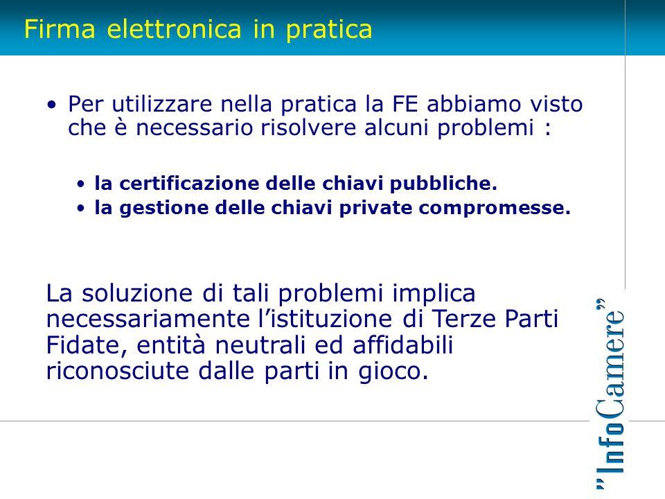 Firma elettronica in pratica Per utilizzare nella pratica la FE abbiamo visto che è necessario risolvere alcuni problemi : la certificazione delle chi