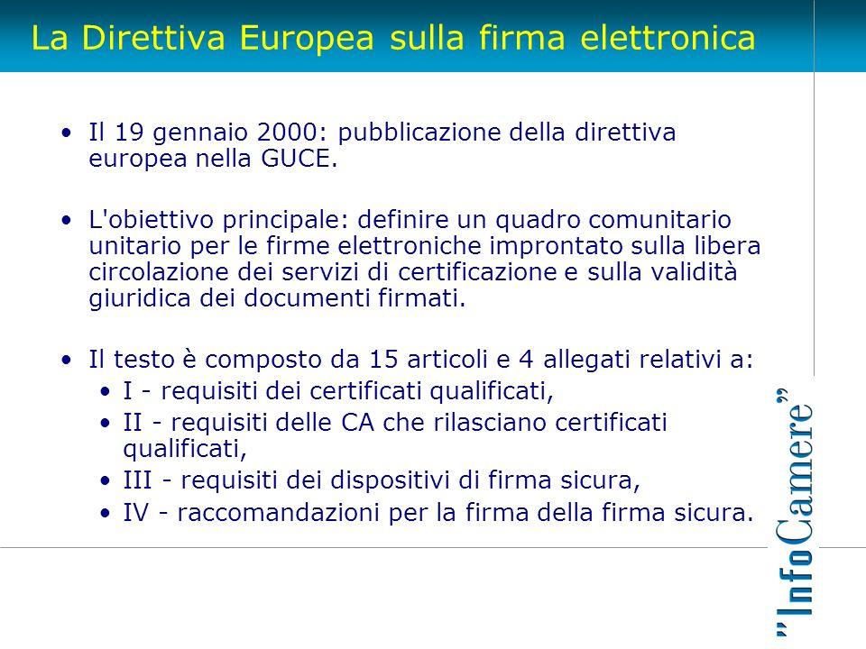 La Direttiva Europea sulla firma elettronica Il 19 gennaio 2000: pubblicazione della direttiva europea nella GUCE. L'obiettivo principale: definire un