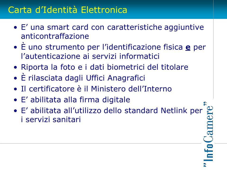 Carta dIdentità Elettronica E una smart card con caratteristiche aggiuntive anticontraffazione È uno strumento per lidentificazione fisica e per laute
