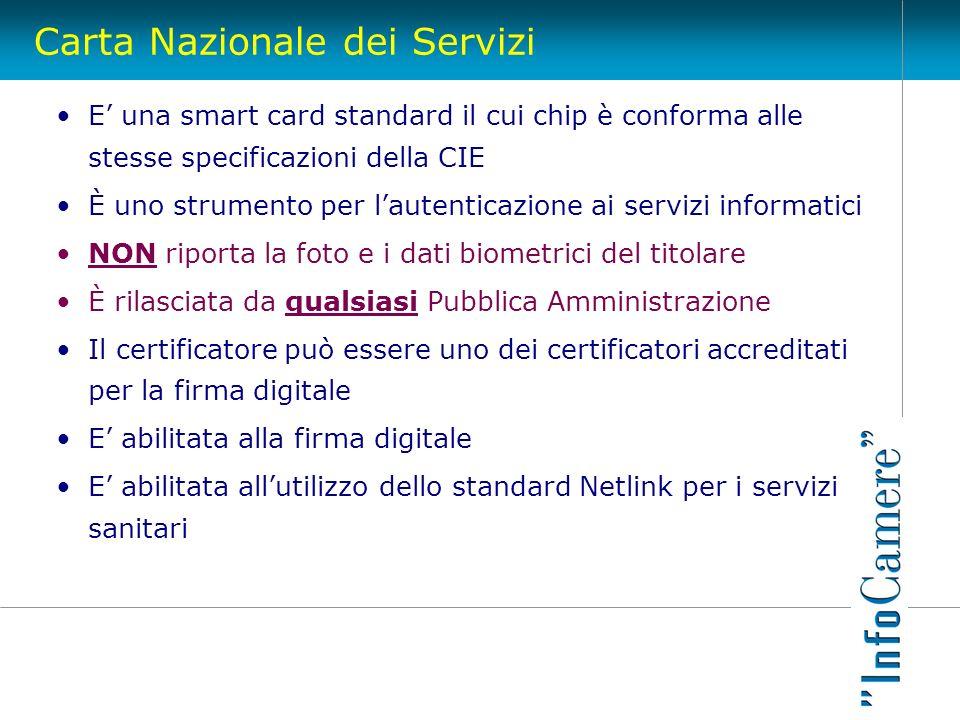 Carta Nazionale dei Servizi E una smart card standard il cui chip è conforma alle stesse specificazioni della CIE È uno strumento per lautenticazione