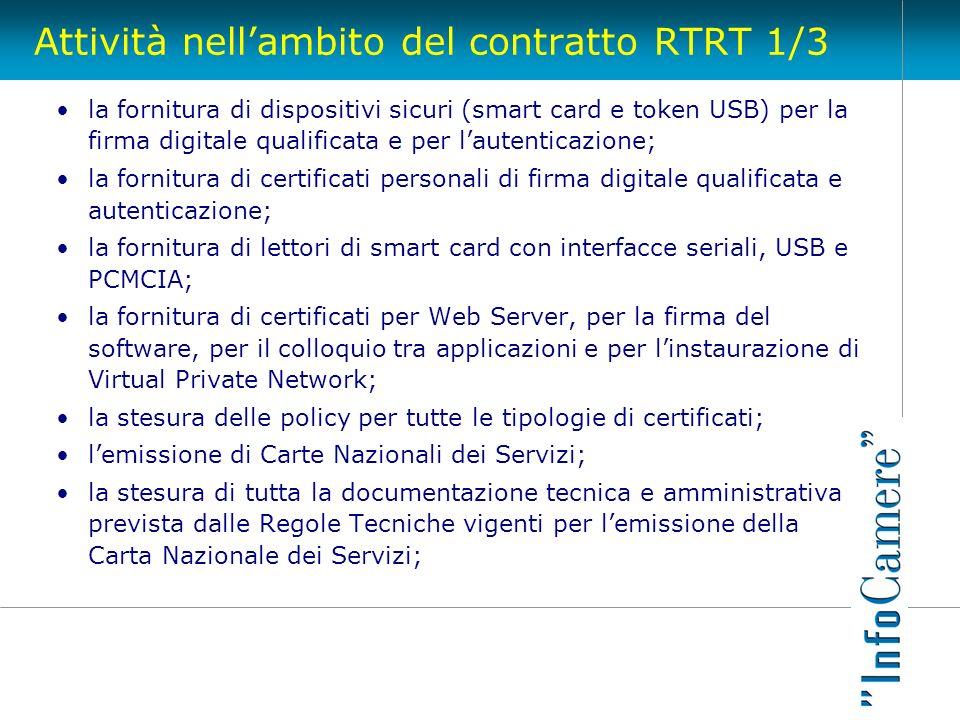 Attività nellambito del contratto RTRT 1/3 la fornitura di dispositivi sicuri (smart card e token USB) per la firma digitale qualificata e per lautent