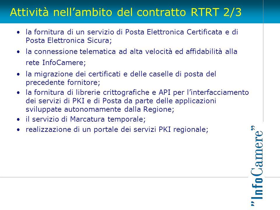 Attività nellambito del contratto RTRT 2/3 la fornitura di un servizio di Posta Elettronica Certificata e di Posta Elettronica Sicura; la connessione