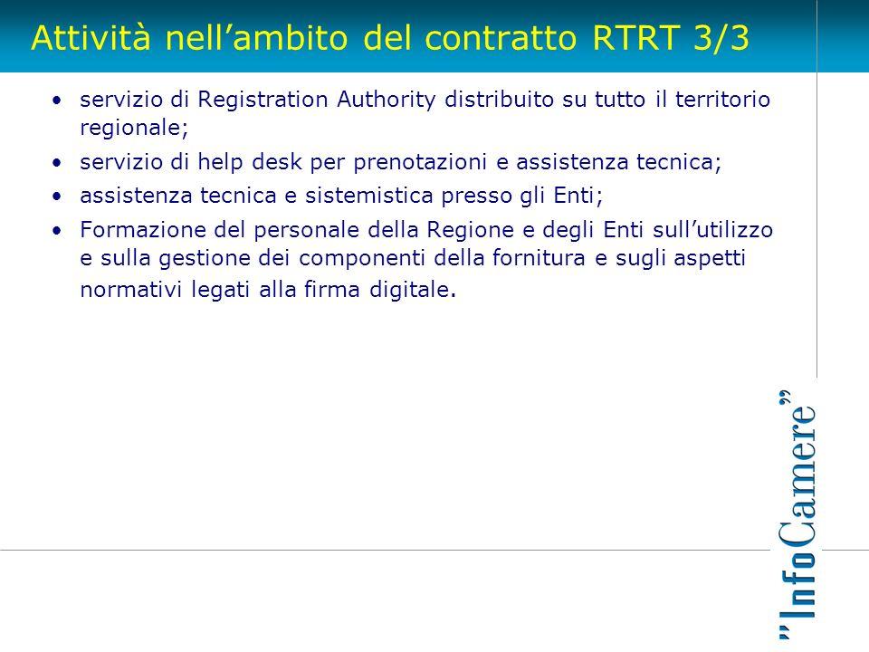 Attività nellambito del contratto RTRT 3/3 servizio di Registration Authority distribuito su tutto il territorio regionale; servizio di help desk per
