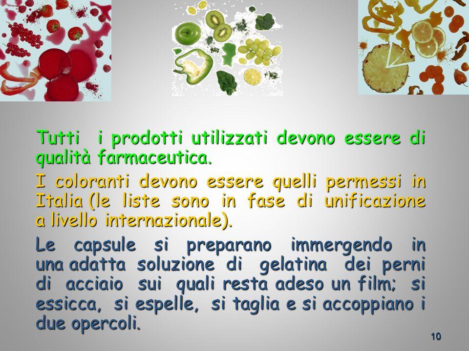 10 Tutti i prodotti utilizzati devono essere di qualità farmaceutica.