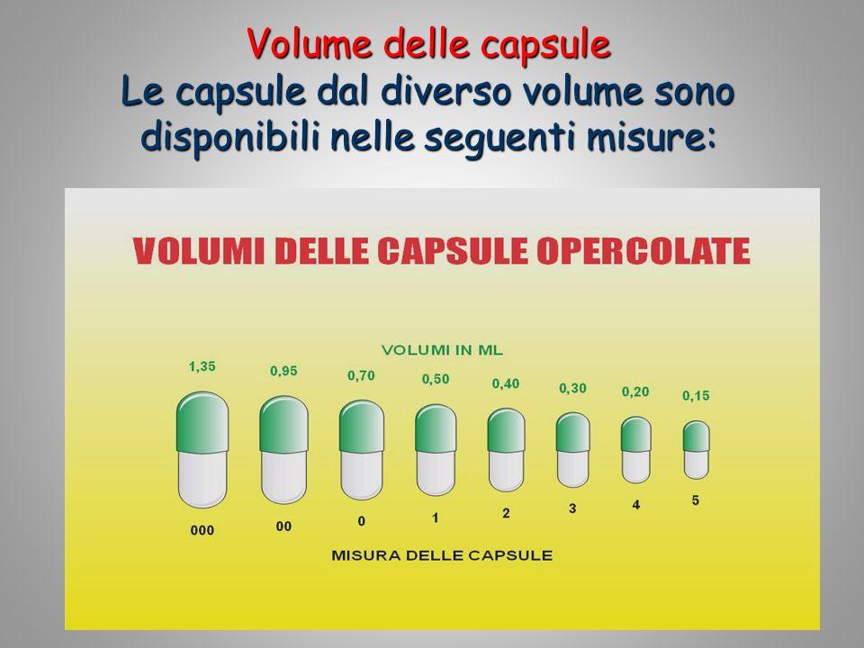 15 Volume delle capsule Le capsule dal diverso volume sono disponibili nelle seguenti misure: