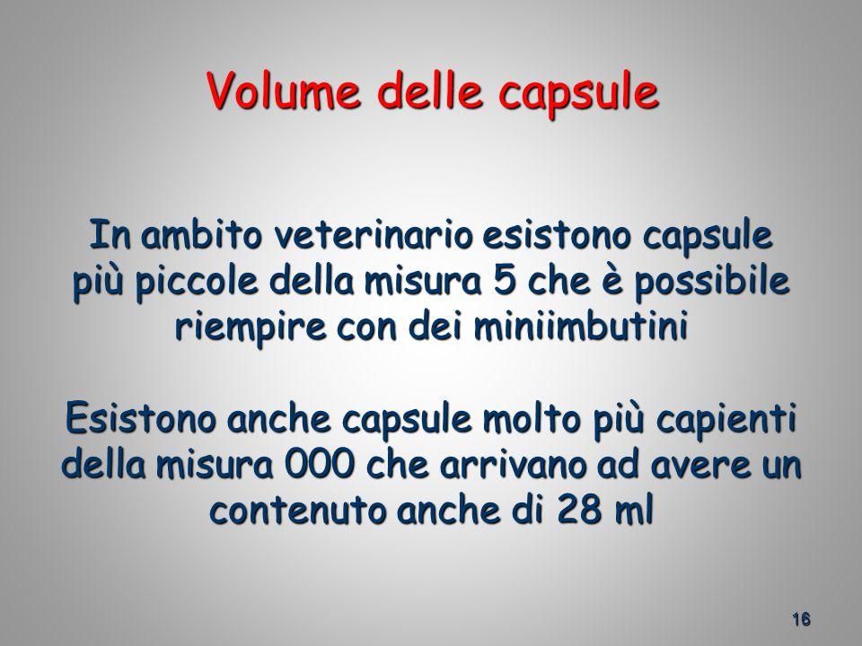 16 Volume delle capsule In ambito veterinario esistono capsule più piccole della misura 5 che è possibile riempire con dei miniimbutini Esistono anche capsule molto più capienti della misura 000 che arrivano ad avere un contenuto anche di 28 ml