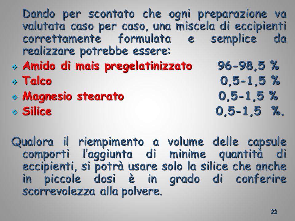 22 Dando per scontato che ogni preparazione va valutata caso per caso, una miscela di eccipienti correttamente formulata e semplice da realizzare potrebbe essere: Amido di mais pregelatinizzato 96-98,5 % Amido di mais pregelatinizzato 96-98,5 % Talco 0,5-1,5 % Talco 0,5-1,5 % Magnesio stearato 0,5-1,5 % Magnesio stearato 0,5-1,5 % Silice 0,5-1,5 %.