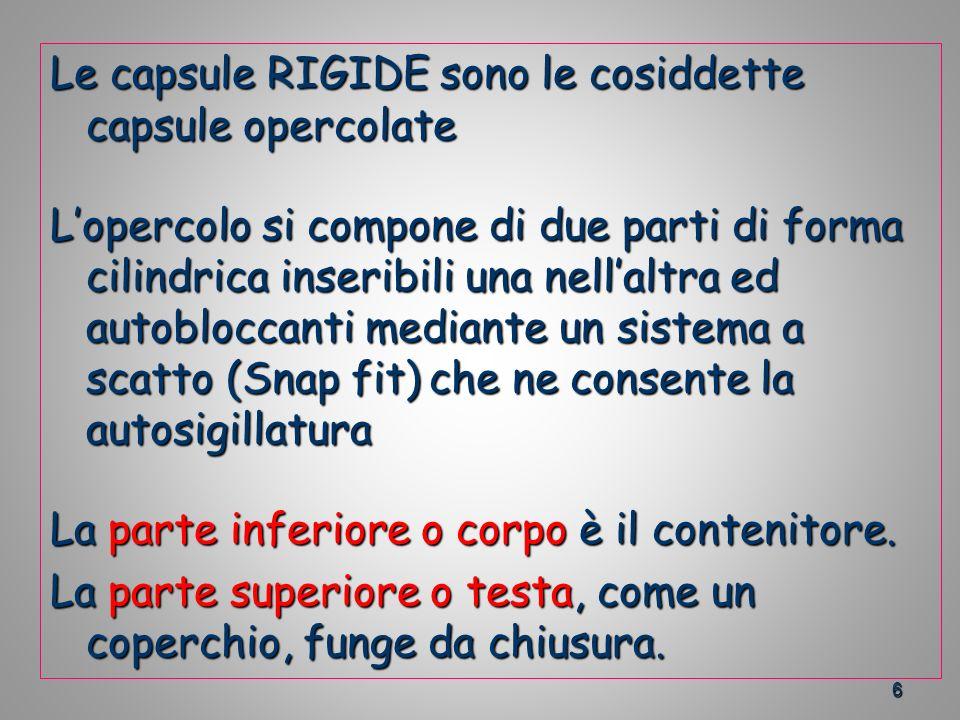 6 Le capsule RIGIDE sono le cosiddette capsule opercolate Lopercolo si compone di due parti di forma cilindrica inseribili una nellaltra ed autobloccanti mediante un sistema a scatto (Snap fit) che ne consente la autosigillatura La parte inferiore o corpo è il contenitore.