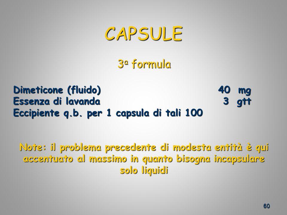 60 CAPSULE 3 a formula Dimeticone (fluido) 40 mg Essenza di lavanda 3 gtt Eccipiente q.b.