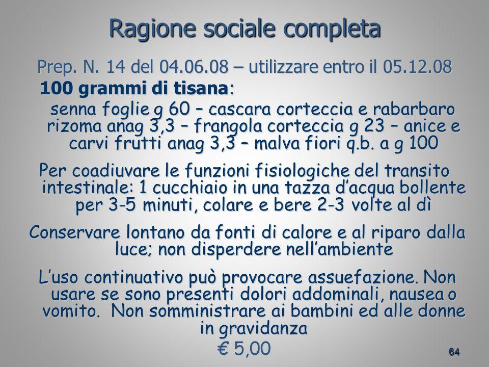 64 Ragione sociale completa Prep.N.