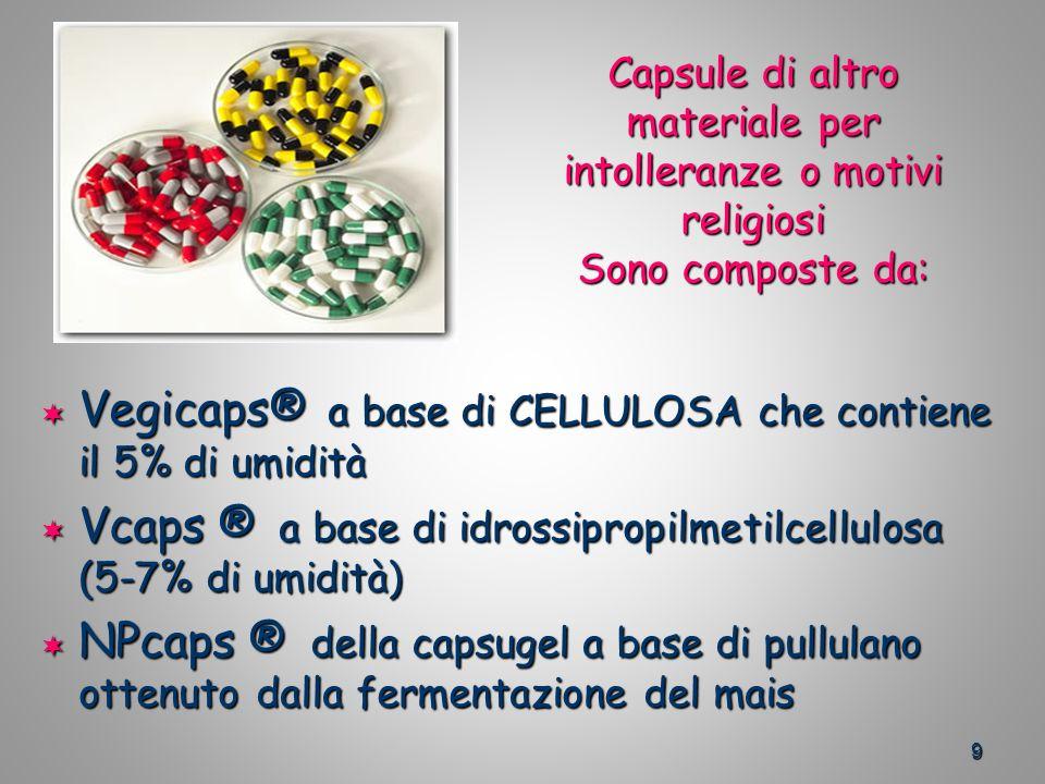 9 Capsule di altro materiale per intolleranze o motivi religiosi Sono composte da: Vegicaps® a base di CELLULOSA che contiene il 5% di umidità Vegicaps® a base di CELLULOSA che contiene il 5% di umidità Vcaps ® a base di idrossipropilmetilcellulosa (5-7% di umidità) Vcaps ® a base di idrossipropilmetilcellulosa (5-7% di umidità) NPcaps ® della capsugel a base di pullulano ottenuto dalla fermentazione del mais NPcaps ® della capsugel a base di pullulano ottenuto dalla fermentazione del mais