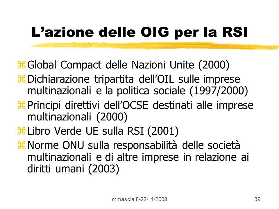 mmascia 8-22/11/200839 Lazione delle OIG per la RSI zGlobal Compact delle Nazioni Unite (2000) zDichiarazione tripartita dellOIL sulle imprese multinazionali e la politica sociale (1997/2000) zPrincipi direttivi dellOCSE destinati alle imprese multinazionali (2000) zLibro Verde UE sulla RSI (2001) zNorme ONU sulla responsabilità delle società multinazionali e di altre imprese in relazione ai diritti umani (2003)