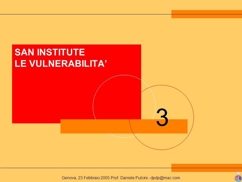 Genova, 23 Febbraio 2005 Prof. Daniele Pulcini - dpdp@mac.com 3 SAN INSTITUTE LE VULNERABILITA