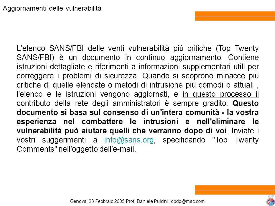 Genova, 23 Febbraio 2005 Prof. Daniele Pulcini - dpdp@mac.com L'elenco SANS/FBI delle venti vulnerabilità più critiche (Top Twenty SANS/FBI) è un docu