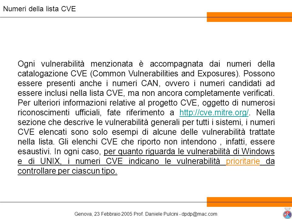 Genova, 23 Febbraio 2005 Prof. Daniele Pulcini - dpdp@mac.com Ogni vulnerabilità menzionata è accompagnata dai numeri della catalogazione CVE (Common