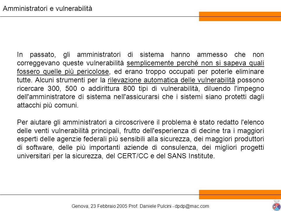 Genova, 23 Febbraio 2005 Prof. Daniele Pulcini - dpdp@mac.com In passato, gli amministratori di sistema hanno ammesso che non correggevano queste vuln