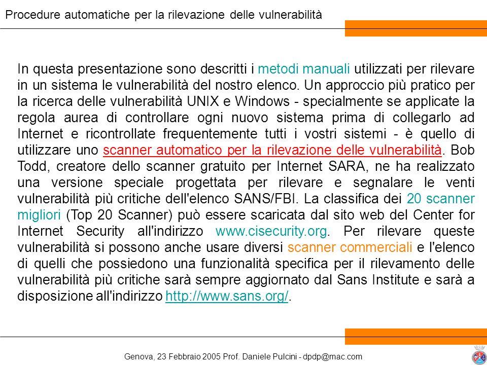 Genova, 23 Febbraio 2005 Prof. Daniele Pulcini - dpdp@mac.com In questa presentazione sono descritti i metodi manuali utilizzati per rilevare in un si