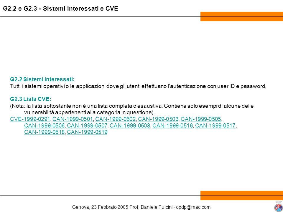 Genova, 23 Febbraio 2005 Prof. Daniele Pulcini - dpdp@mac.com G2.2 Sistemi interessati: Tutti i sistemi operativi o le applicazioni dove gli utenti ef