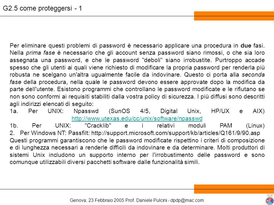 Genova, 23 Febbraio 2005 Prof. Daniele Pulcini - dpdp@mac.com Per eliminare questi problemi di password è necessario applicare una procedura in due fa