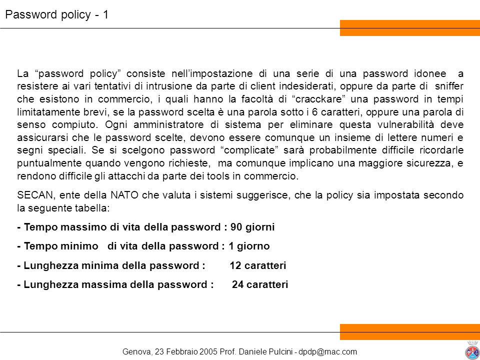 Genova, 23 Febbraio 2005 Prof. Daniele Pulcini - dpdp@mac.com Password policy - 1 La password policy consiste nellimpostazione di una serie di una pas