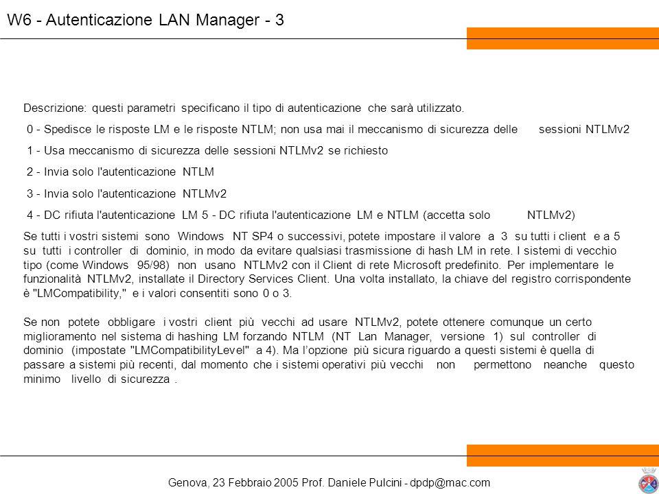 Genova, 23 Febbraio 2005 Prof. Daniele Pulcini - dpdp@mac.com W6 - Autenticazione LAN Manager - 3 Descrizione: questi parametri specificano il tipo di