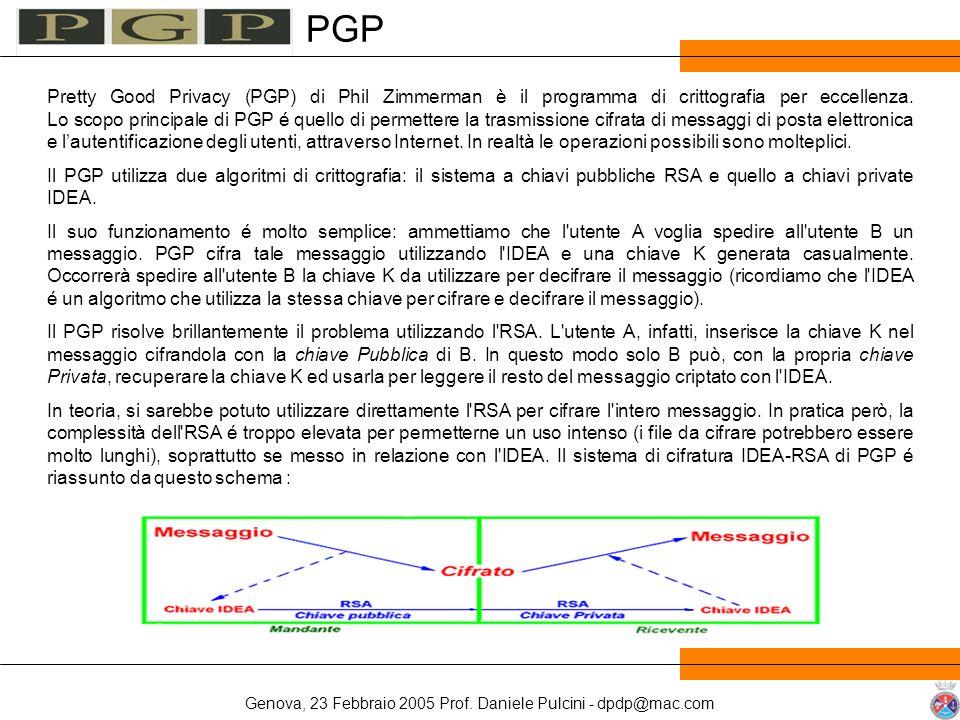 Genova, 23 Febbraio 2005 Prof. Daniele Pulcini - dpdp@mac.com Pretty Good Privacy (PGP) di Phil Zimmerman è il programma di crittografia per eccellenz