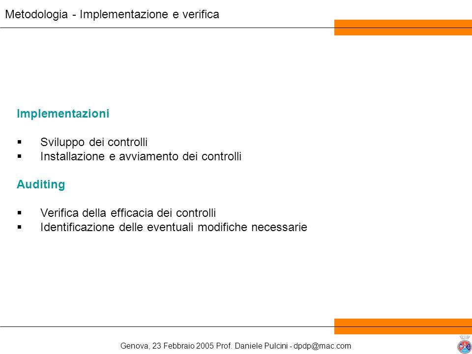 Genova, 23 Febbraio 2005 Prof. Daniele Pulcini - dpdp@mac.com Metodologia - Implementazione e verifica Implementazioni Sviluppo dei controlli Installa