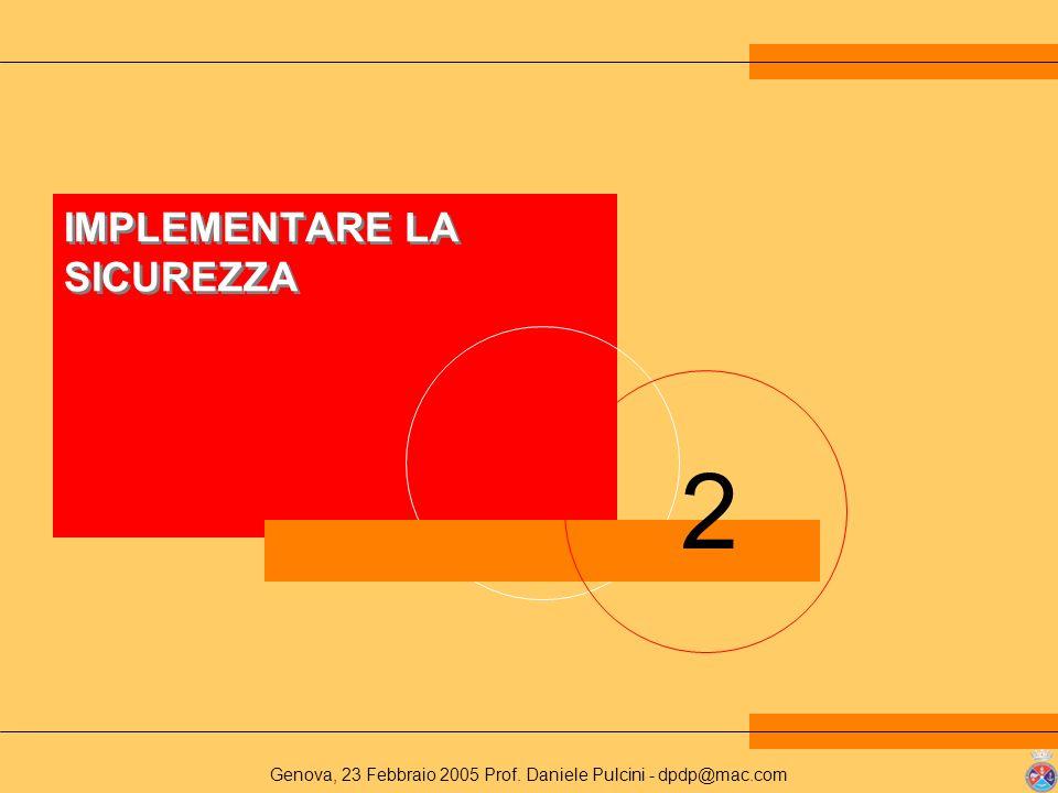 Genova, 23 Febbraio 2005 Prof. Daniele Pulcini - dpdp@mac.com 2 IMPLEMENTARE LA SICUREZZA