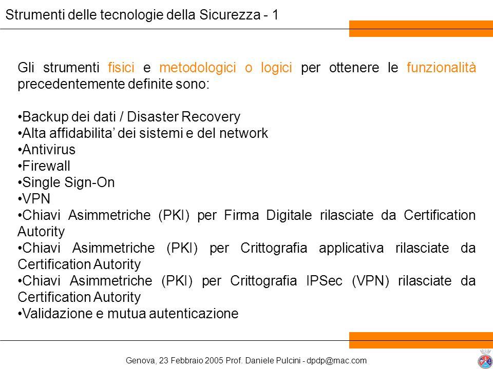 Genova, 23 Febbraio 2005 Prof. Daniele Pulcini - dpdp@mac.com Strumenti delle tecnologie della Sicurezza - 1 Gli strumenti fisici e metodologici o log