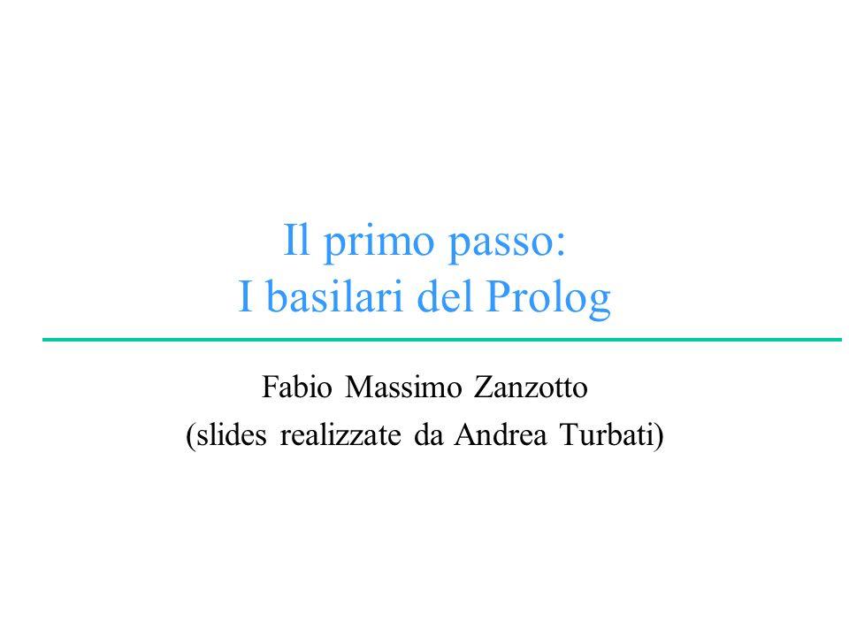 © F.M.ZanzottoLogica per la Programmazione e la Dimostrazione Automatica University of Rome Tor Vergata Termini Predicati Clausole (Fatti e Regole) Programma logico Elementi del Prolog