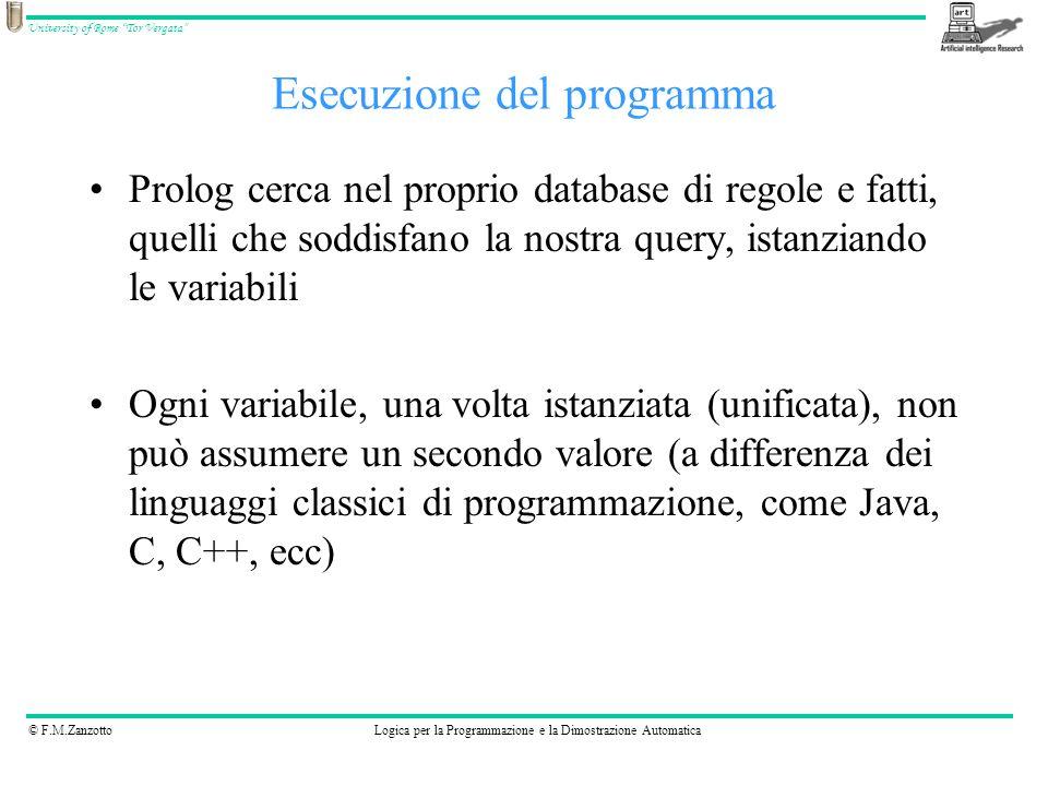 © F.M.ZanzottoLogica per la Programmazione e la Dimostrazione Automatica University of Rome Tor Vergata Dati i fatti: –parent( pam, bob).