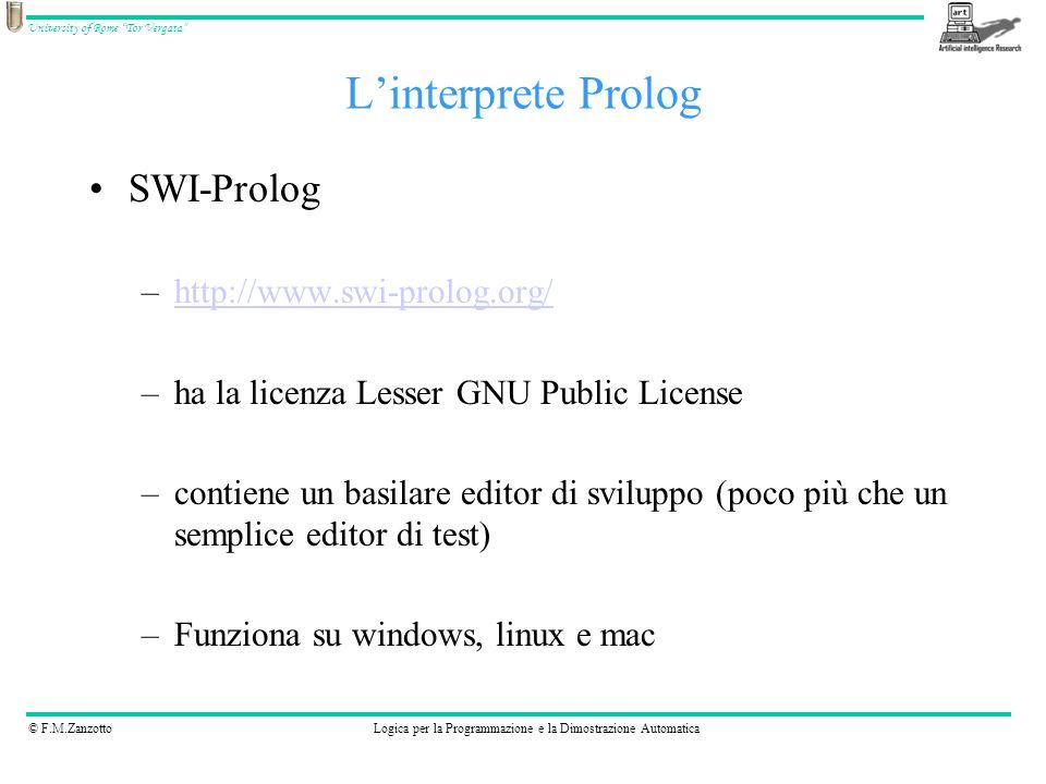 © F.M.ZanzottoLogica per la Programmazione e la Dimostrazione Automatica University of Rome Tor Vergata edit.