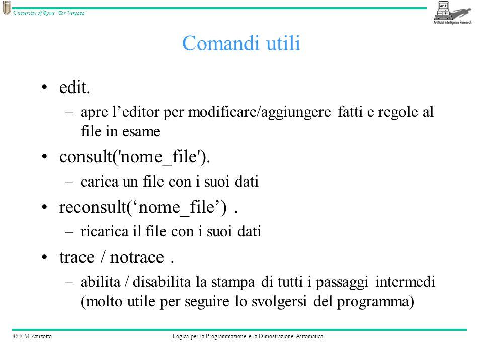 © F.M.ZanzottoLogica per la Programmazione e la Dimostrazione Automatica University of Rome Tor Vergata Vedere lesempio contenuto in prolog-1.pl Provare le query ( * è 1,2,3 e 4): –pred*(pam, ann).