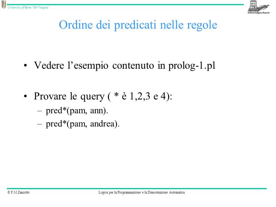 © F.M.ZanzottoLogica per la Programmazione e la Dimostrazione Automatica University of Rome Tor Vergata Nel sito http://www.swi-prolog.org/pldoc/ cè la documentazione sulle varie regole già presenti in prologhttp://www.swi-prolog.org/pldoc/ Simboli usati: –+ termine che deve essere già istanziato –- termine che viene istanziato dalla regola –.